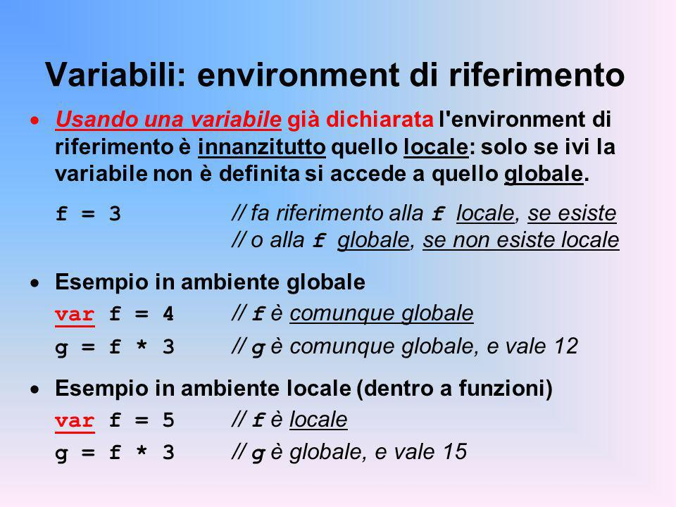 Variabili: environment di riferimento