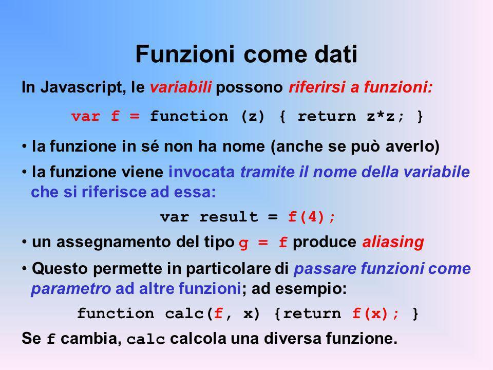 Funzioni come dati In Javascript, le variabili possono riferirsi a funzioni: var f = function (z) { return z*z; }