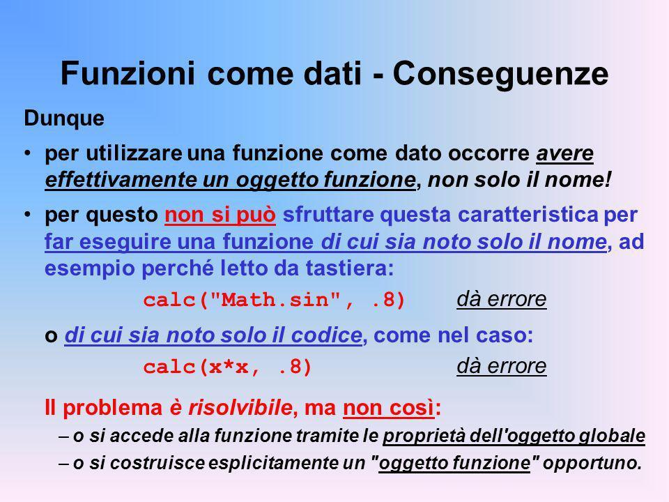 Funzioni come dati - Conseguenze