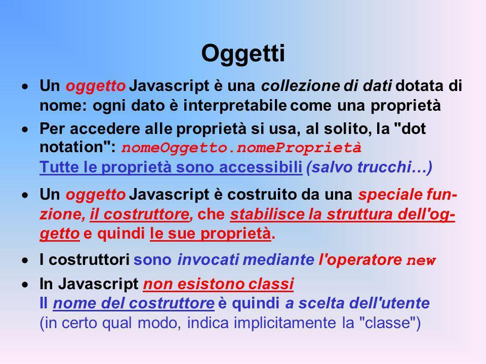 Oggetti Un oggetto Javascript è una collezione di dati dotata di nome: ogni dato è interpretabile come una proprietà.