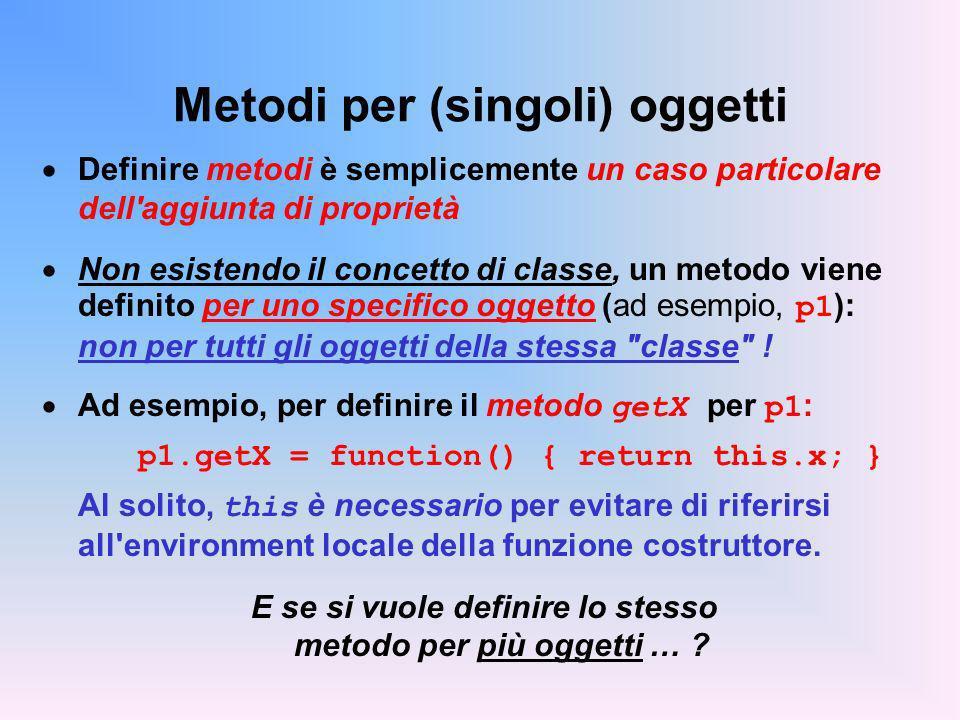 Metodi per (singoli) oggetti