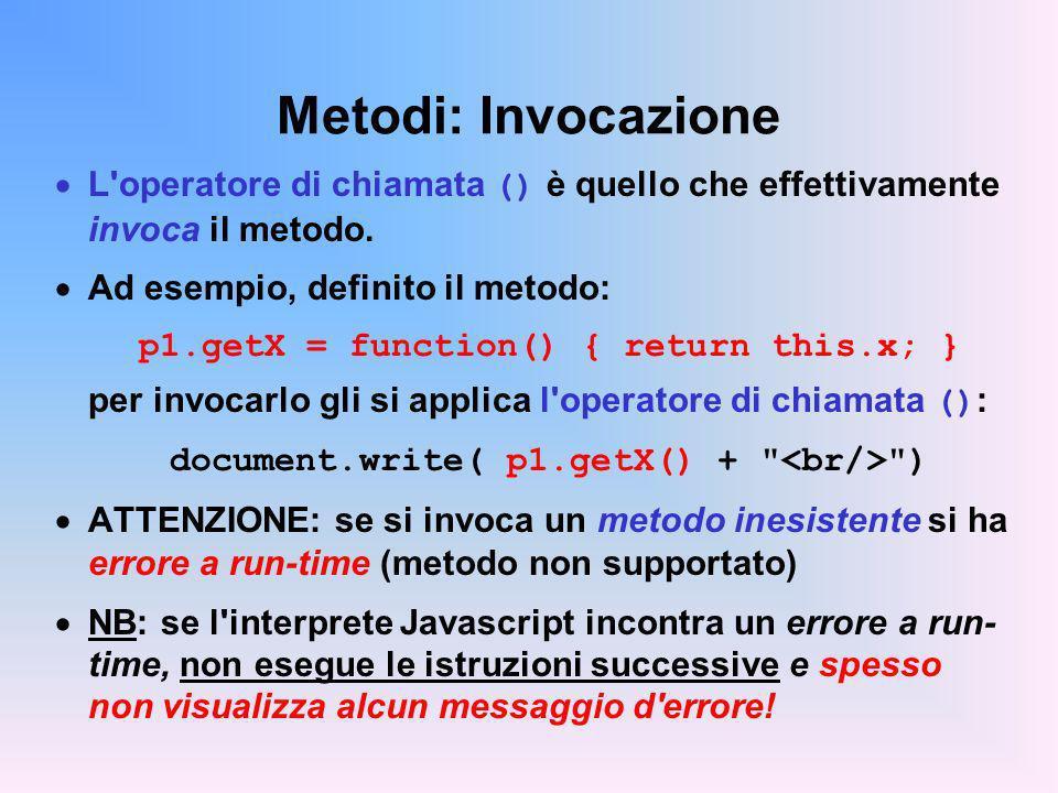 Metodi: Invocazione L operatore di chiamata () è quello che effettivamente invoca il metodo. Ad esempio, definito il metodo: