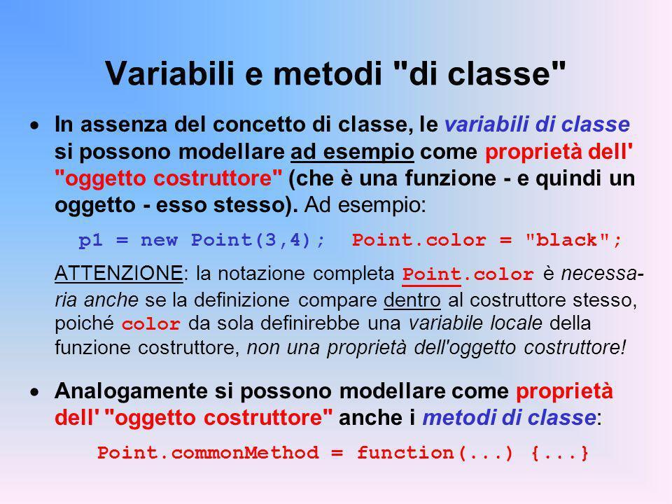 Variabili e metodi di classe