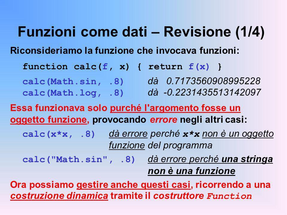 Funzioni come dati – Revisione (1/4)
