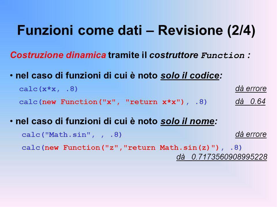 Funzioni come dati – Revisione (2/4)