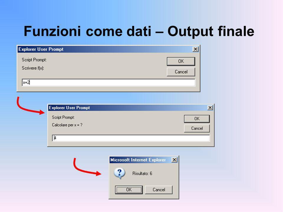 Funzioni come dati – Output finale