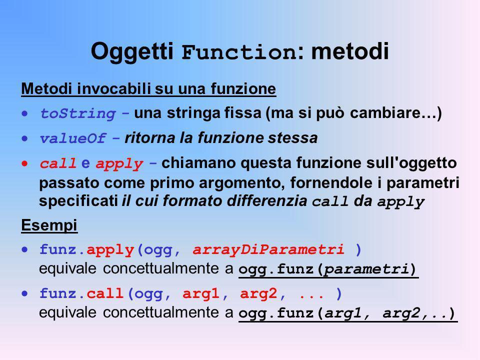 Oggetti Function: metodi