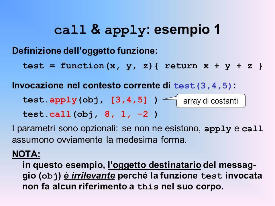 call & apply: esempio 1 Definizione dell oggetto funzione: