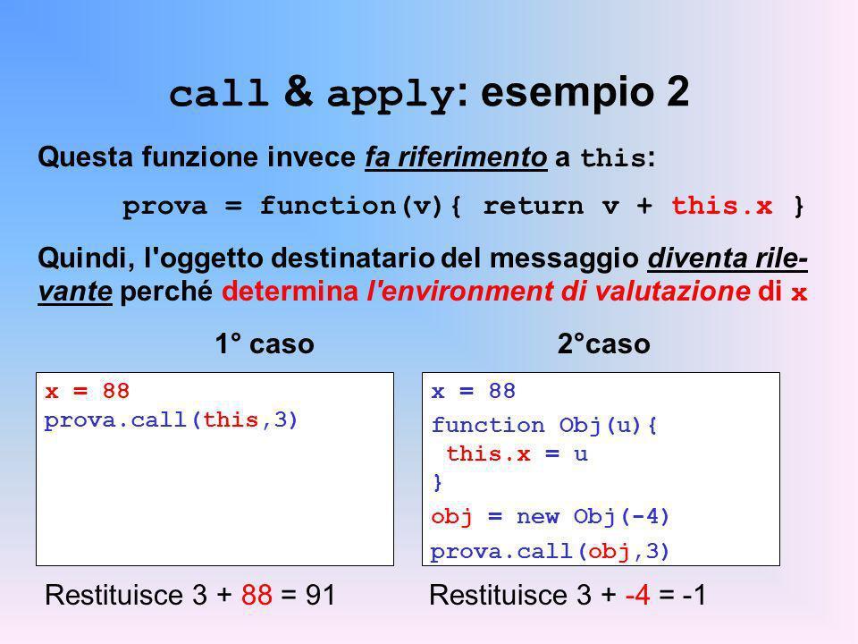 call & apply: esempio 2 Questa funzione invece fa riferimento a this: