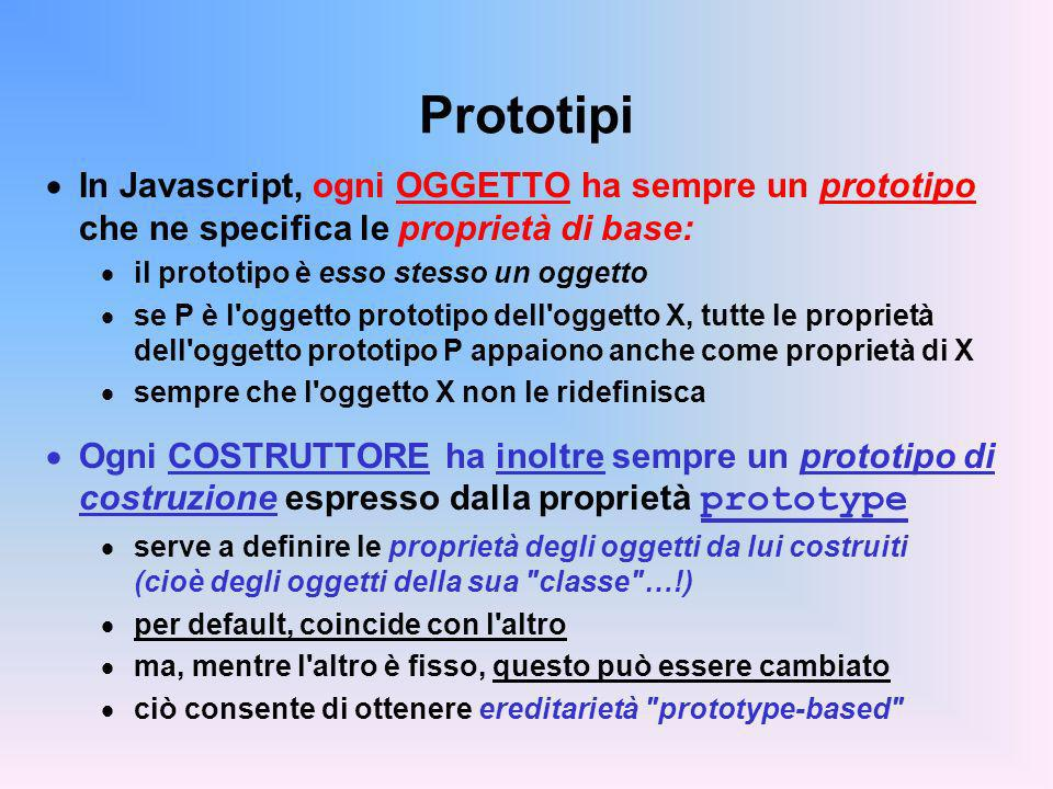 Prototipi In Javascript, ogni OGGETTO ha sempre un prototipo che ne specifica le proprietà di base: