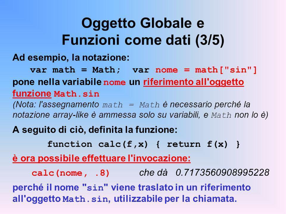 Oggetto Globale e Funzioni come dati (3/5)