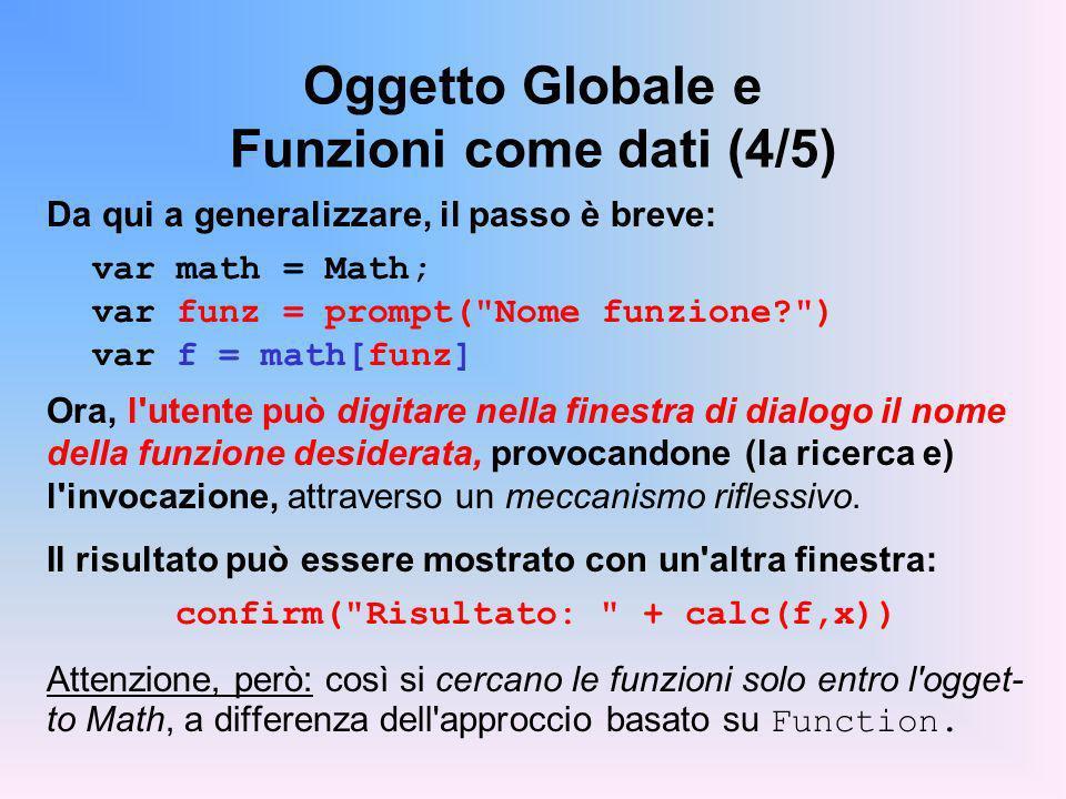 Oggetto Globale e Funzioni come dati (4/5)