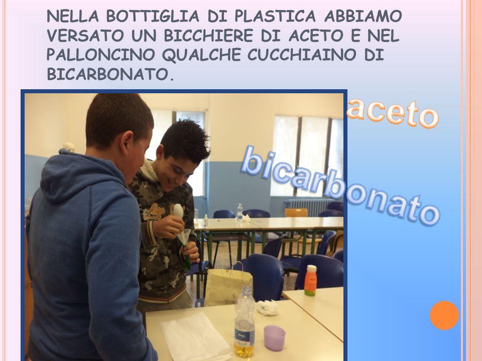 NELLA BOTTIGLIA DI PLASTICA ABBIAMO VERSATO UN BICCHIERE DI ACETO E NEL PALLONCINO QUALCHE CUCCHIAINO DI BICARBONATO.