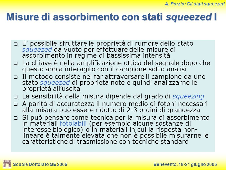 Misure di assorbimento con stati squeezed I