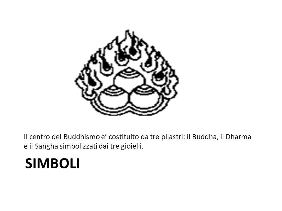 Il centro del Buddhismo e' costituito da tre pilastri: il Buddha, il Dharma e il Sangha simbolizzati dai tre gioielli.