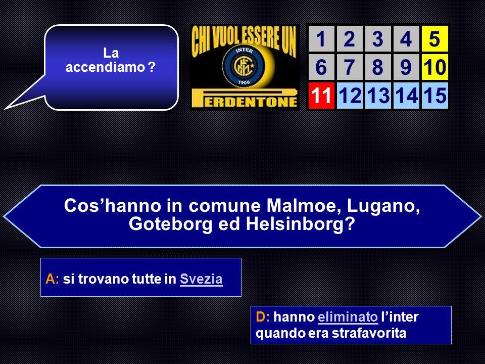 Cos'hanno in comune Malmoe, Lugano, Goteborg ed Helsinborg