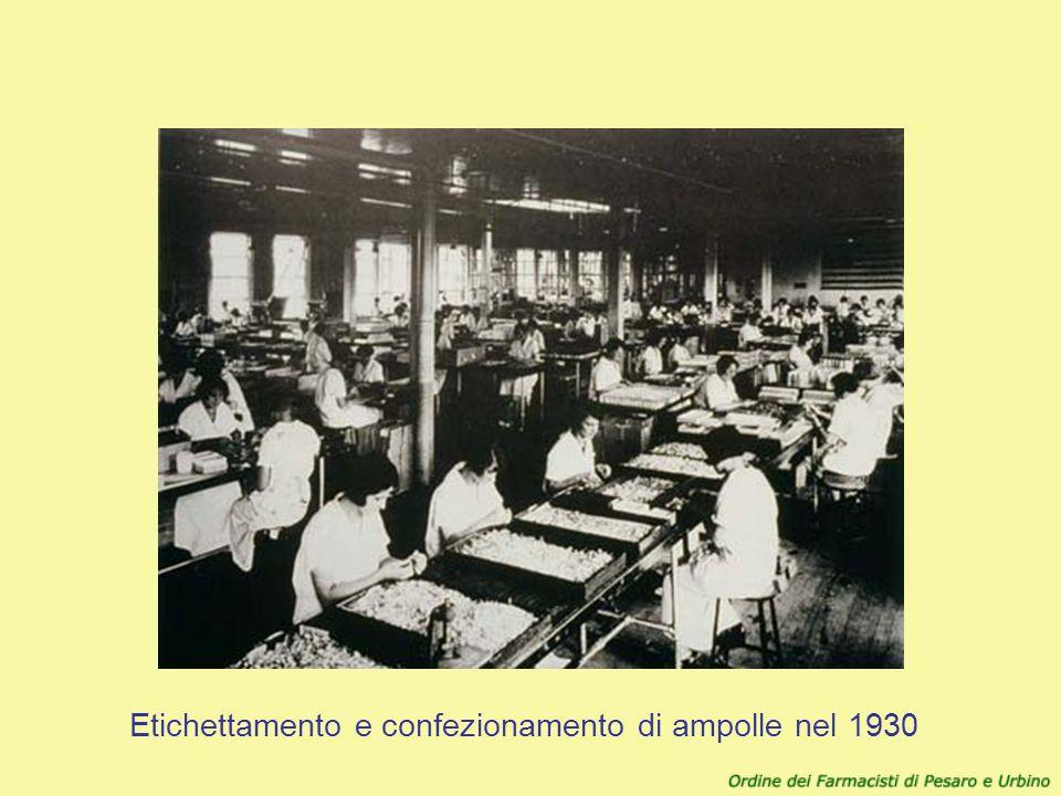 Etichettamento e confezionamento di ampolle nel 1930