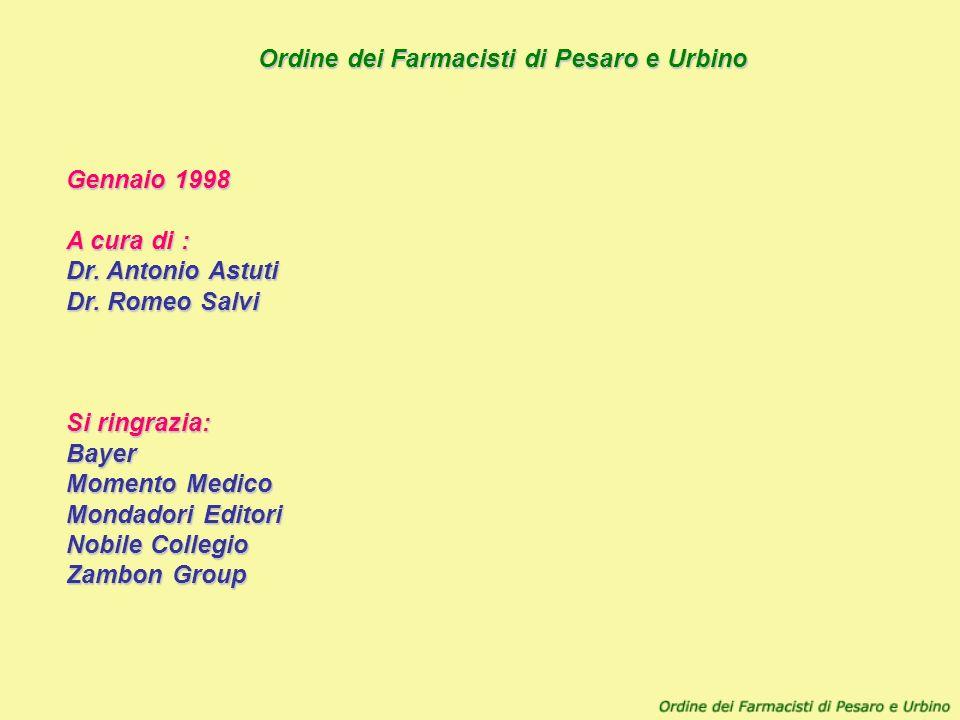 Ordine dei Farmacisti di Pesaro e Urbino Gennaio 1998. A cura di : Dr