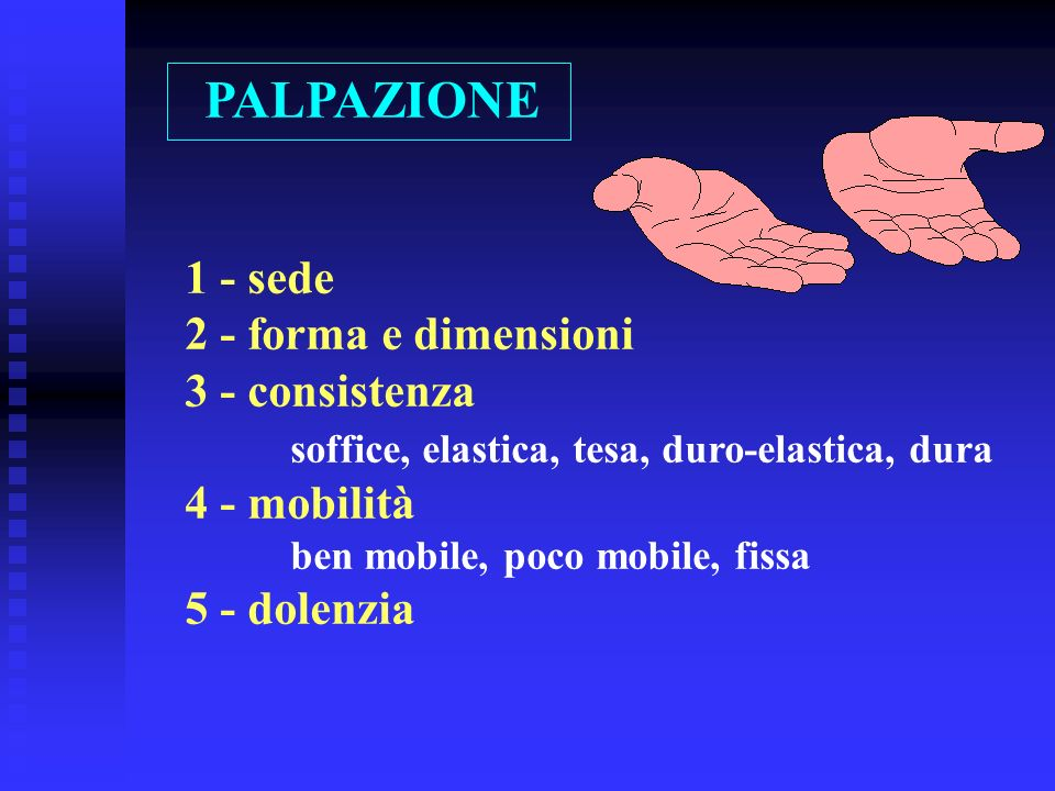 PALPAZIONE 1 - sede 2 - forma e dimensioni 3 - consistenza