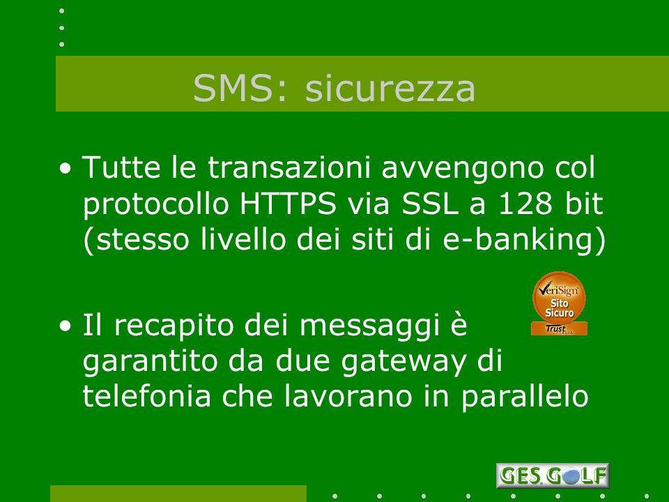 SMS: sicurezza Tutte le transazioni avvengono col protocollo HTTPS via SSL a 128 bit (stesso livello dei siti di e-banking)