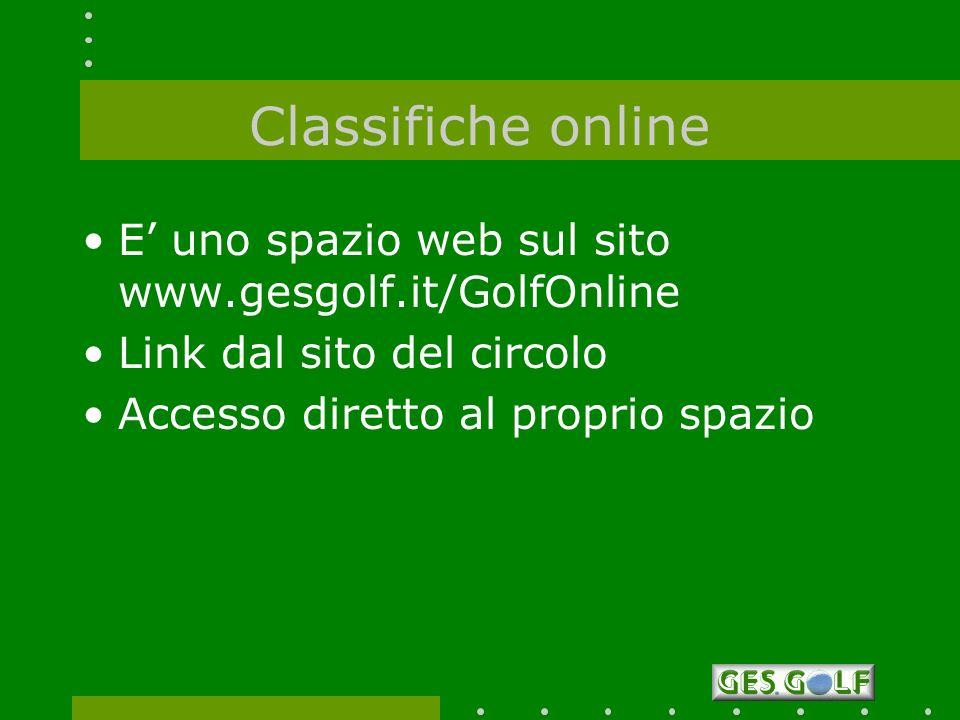 Classifiche online E' uno spazio web sul sito www.gesgolf.it/GolfOnline. Link dal sito del circolo.