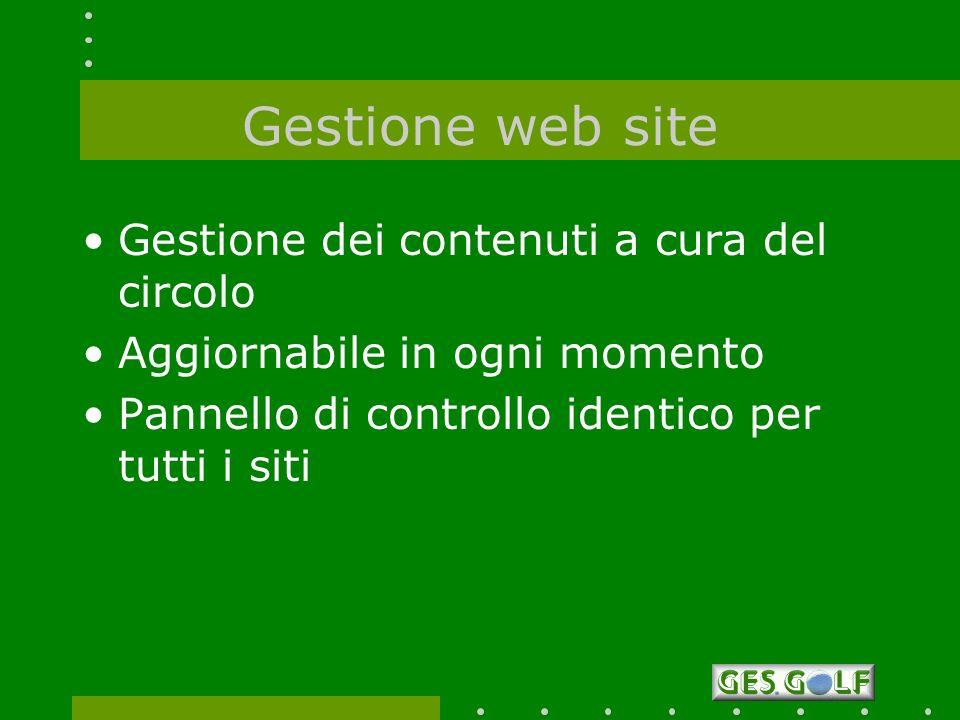 Gestione web site Gestione dei contenuti a cura del circolo