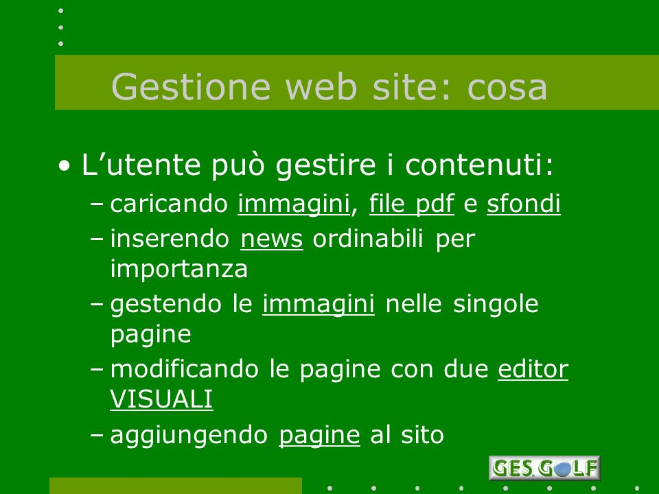 Gestione web site: cosa