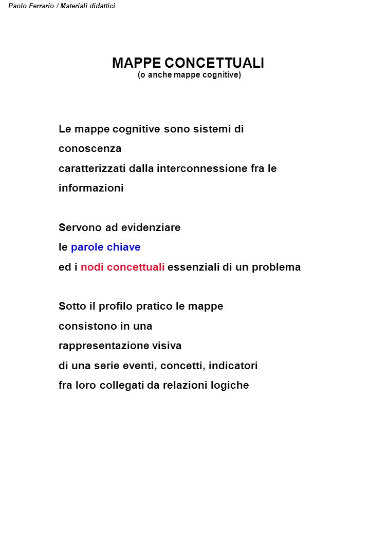 (o anche mappe cognitive)