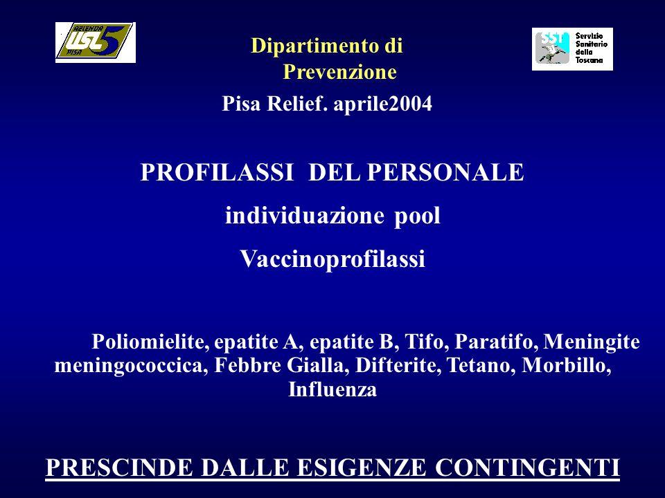 PROFILASSI DEL PERSONALE individuazione pool Vaccinoprofilassi