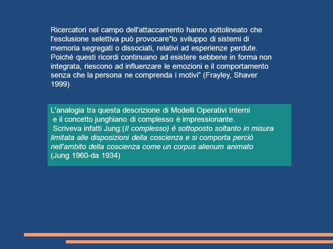 Ricercatori nel campo dell attaccamento hanno sottolineato che l esclusione selettiva può provocare lo sviluppo di sistemi di memoria segregati o dissociati, relativi ad esperienze perdute. Poiché questi ricordi continuano ad esistere sebbene in forma non integrata, riescono ad influenzare le emozioni e il comportamento senza che la persona ne comprenda i motivi (Frayley, Shaver 1999)