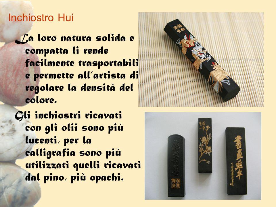 Inchiostro Hui La loro natura solida e compatta li rende facilmente trasportabili e permette all'artista di regolare la densità del colore.