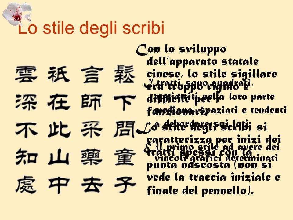 Lo stile degli scribi Con lo sviluppo dell'apparato statale cinese, lo stile sigillare era troppo rigido e difficile per i funzionari.