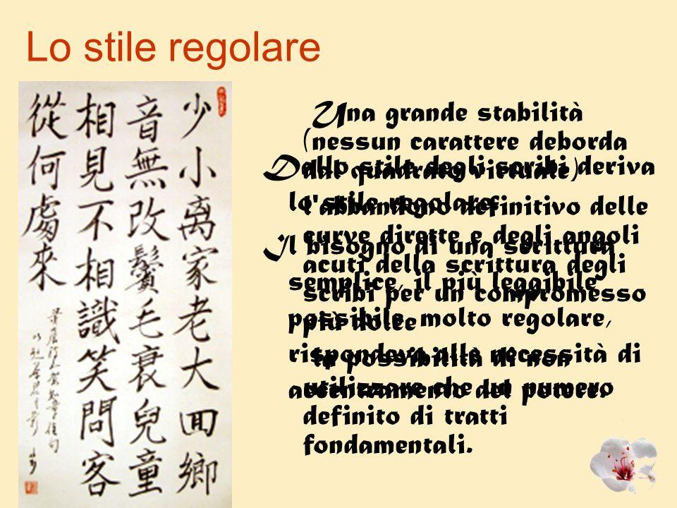 Lo stile regolare Una grande stabilità (nessun carattere deborda dal quadrato virtuale)