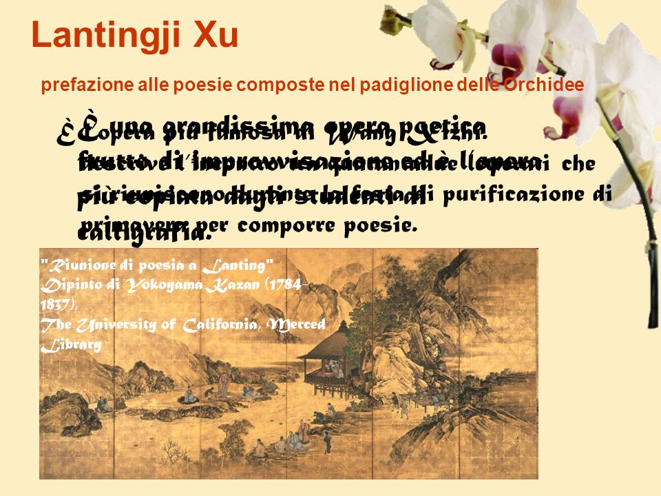 Lantingji Xu prefazione alle poesie composte nel padiglione delle Orchidee