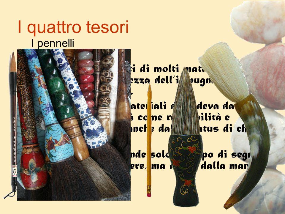 I quattro tesori I pennelli. I pennelli sono fatti di molti materiali e variano per lunghezza dell'impugnatura e forma della punta.
