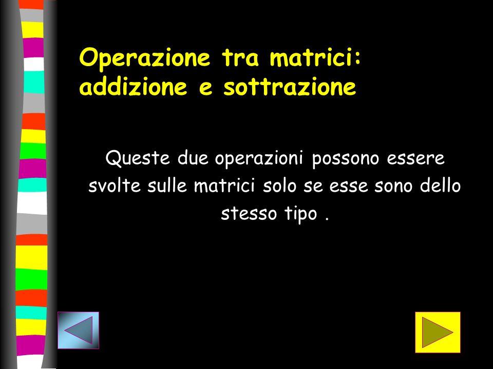 Operazione tra matrici: addizione e sottrazione