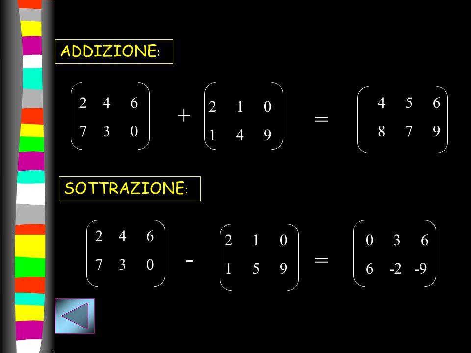 - + = = ADDIZIONE: 4 6 7 3 0 4 5 6 8 7 9 2 1 0 1 4 9 SOTTRAZIONE: 4 6