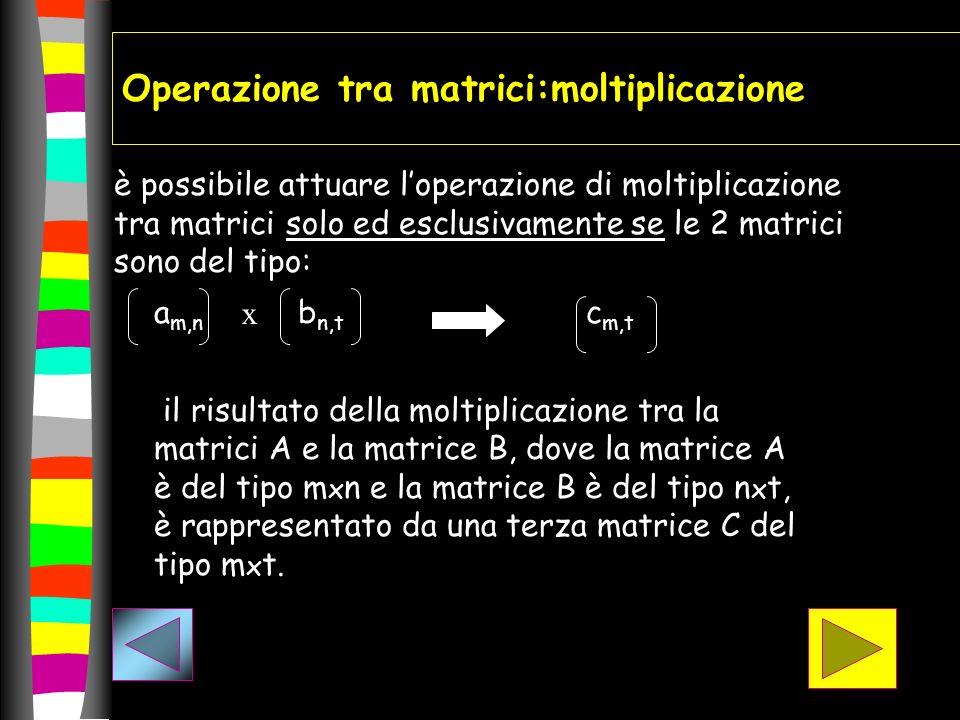 Operazione tra matrici:moltiplicazione