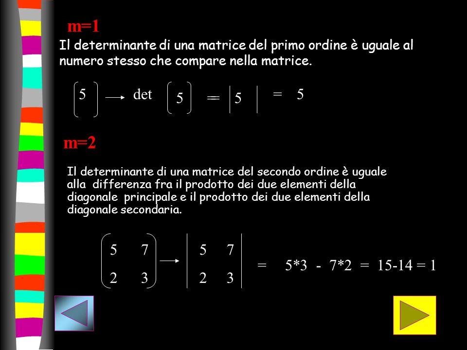 m=1 Il determinante di una matrice del primo ordine è uguale al numero stesso che compare nella matrice.