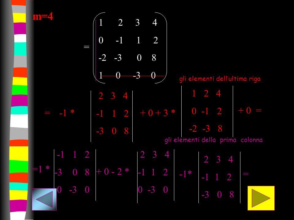 m=4 1 2 3 4. 0 -1 1 2. -2 -3 0 8. 1 0 -3 0. = gli elementi dell'ultima riga.