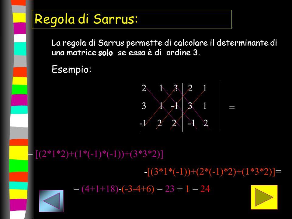 Regola di Sarrus: Esempio: 2 1 3 3 1 -1 -1 2 2 2 1 3 1 -1 2 =