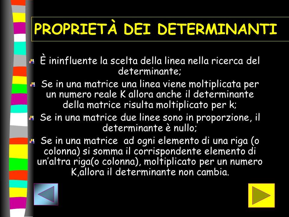 PROPRIETÀ DEI DETERMINANTI