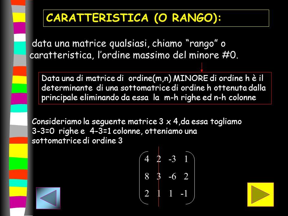 CARATTERISTICA (O RANGO):
