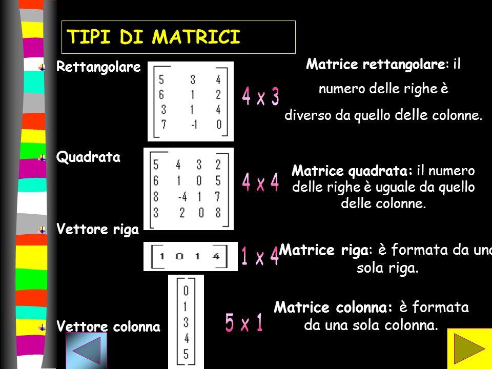 TIPI DI MATRICI Matrice riga: è formata da una sola riga.