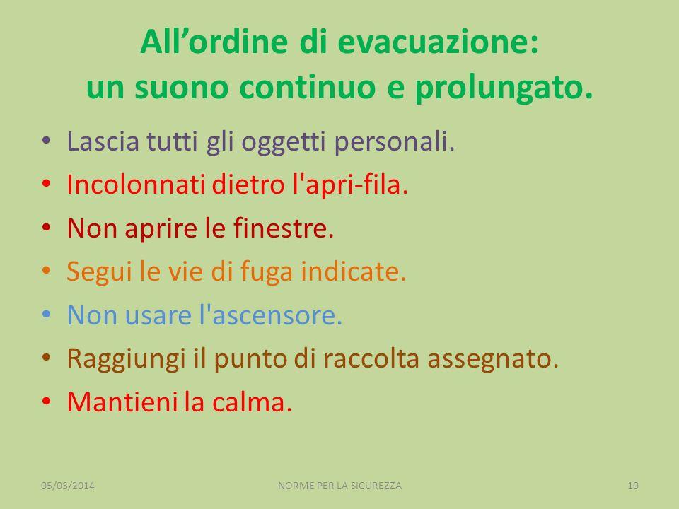 All'ordine di evacuazione: un suono continuo e prolungato.