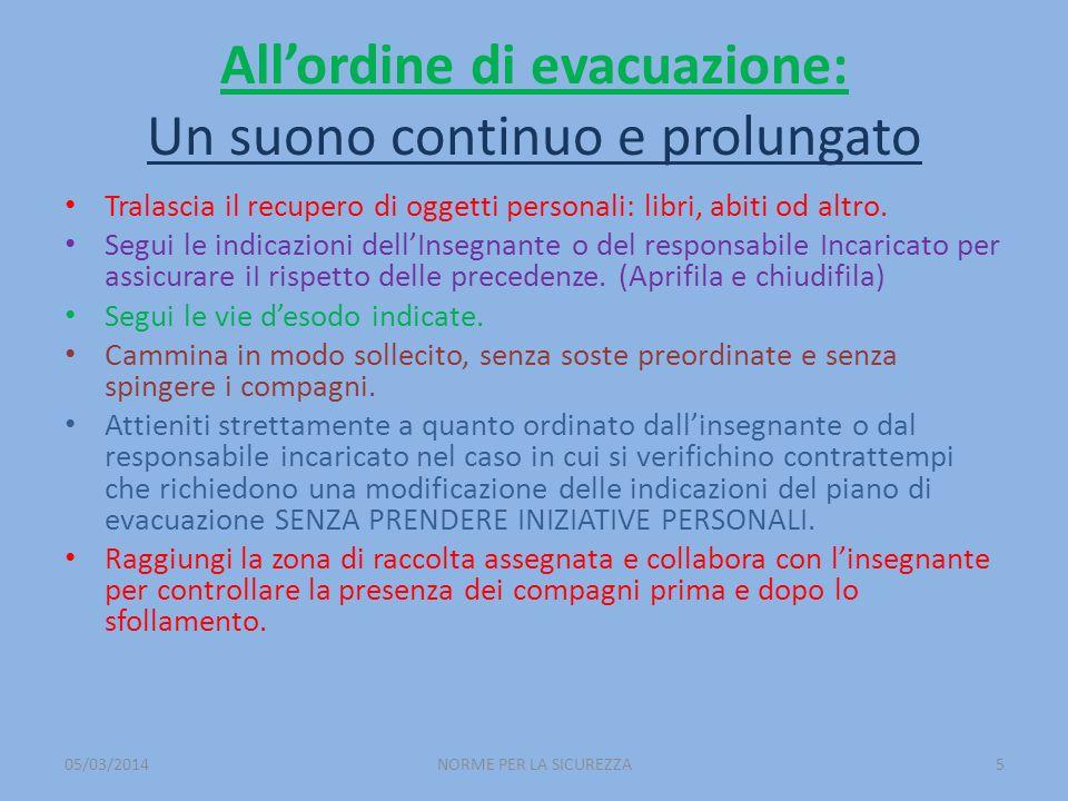 All'ordine di evacuazione: Un suono continuo e prolungato