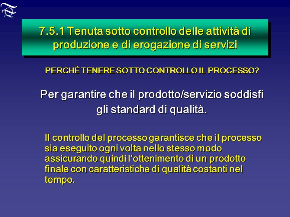 Per garantire che il prodotto/servizio soddisfi