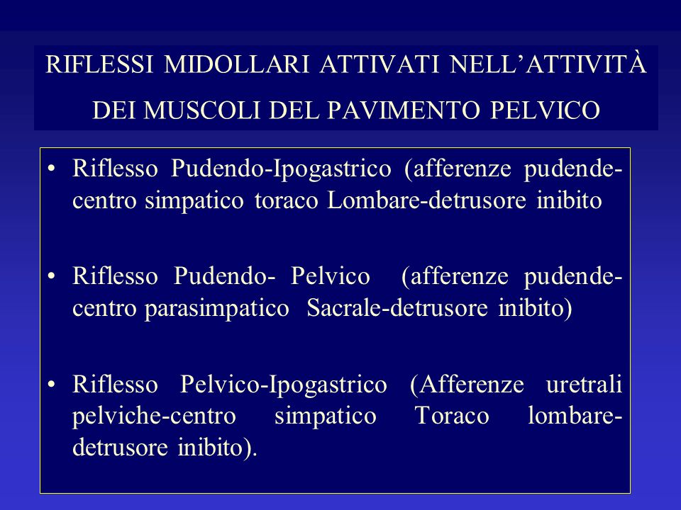 RIFLESSI MIDOLLARI ATTIVATI NELL'ATTIVITÀ DEI MUSCOLI DEL PAVIMENTO PELVICO