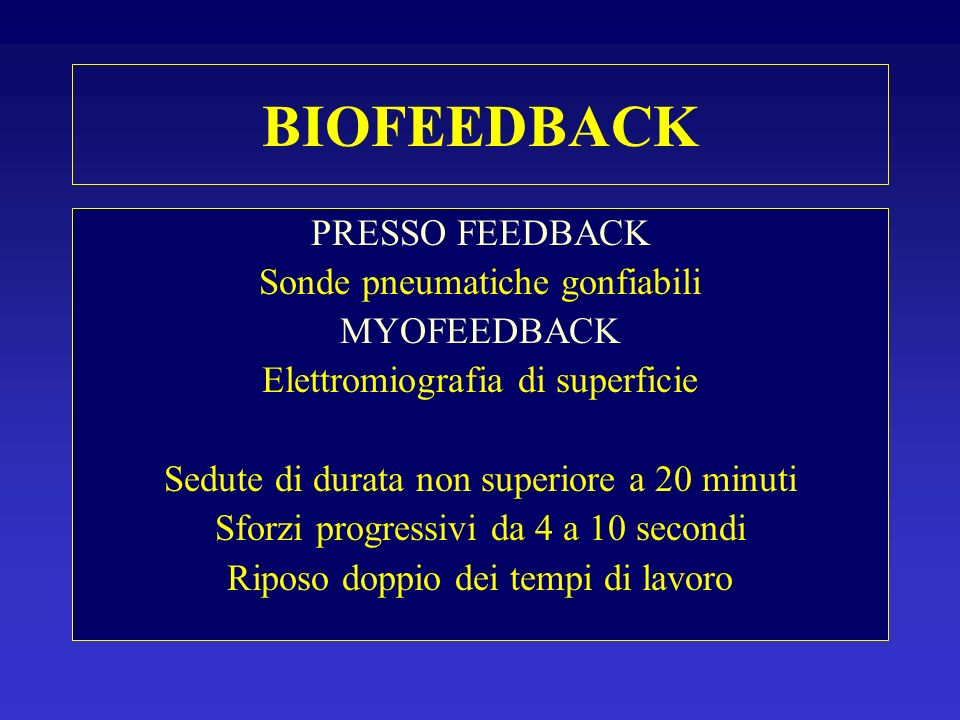 BIOFEEDBACK PRESSO FEEDBACK Sonde pneumatiche gonfiabili MYOFEEDBACK