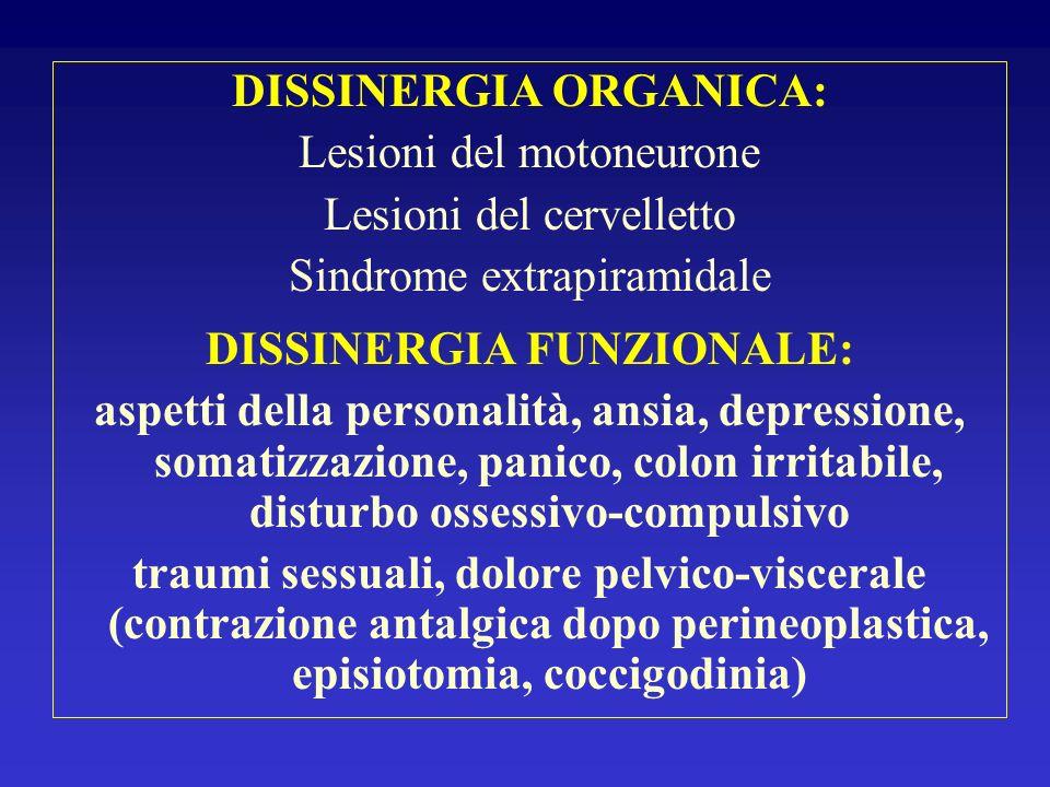 DISSINERGIA ORGANICA: DISSINERGIA FUNZIONALE: